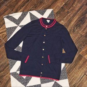 J. Crew Navy Blue Caryn Tipped Cardigan Sweater